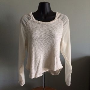 Sparkle & Fade Creme Knit Sheer Sleeves Top
